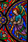 Stained Glass Window Of An Angel With A Trumpet — Stock Photo