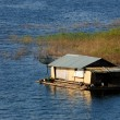 House on raft in the lake,Sangklaburi in Thailand — Stock Photo