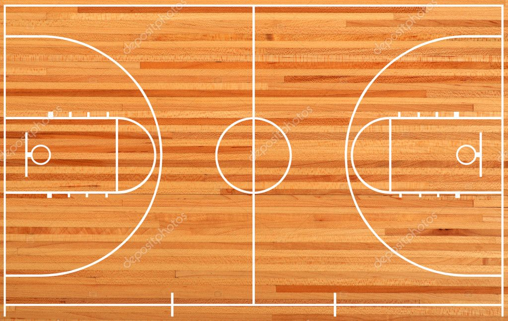 basketball court floor plan on parquet background stock