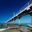 Beautiful blue sky with concrete jetty - Stock Photo