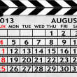 Calendar August 2013, Clapper board or slate style — Stock Photo