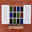 Vintage window colorful glass — Stock Photo