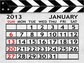 Calendar January 2013, Clapper board or slate style — Stock Photo