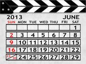 Calendar June 2013, Clapper board or slate style — Stock Photo