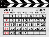 Calendar July 2013, Clapper board or slate style — Stock Photo