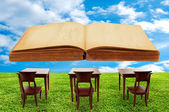 Class room student outdoor and a big book — Stock Photo