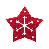 Red star snow flake Christmas tree topper — Stock Photo