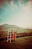 Lone red vintage swing seat — Stock fotografie