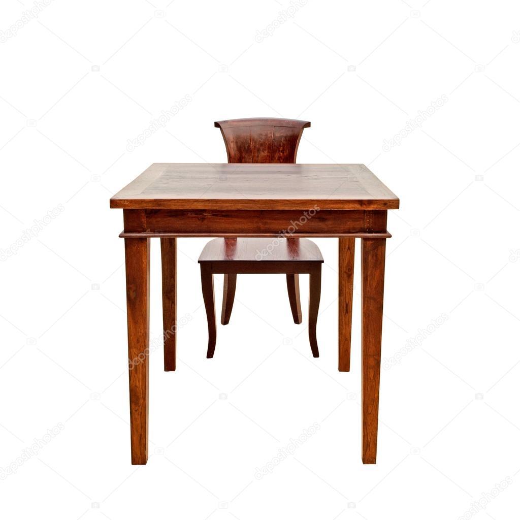 Cadeira de madeira e mesa isolado no fundo branco — Fotografias de  #401007 1024x1024