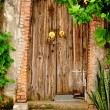 Antique wood door is closed. — Stock Photo