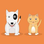 Cat and Dog. — Stock Vector