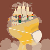 Abstract head of pollution. — Stock Vector