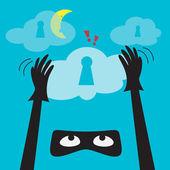 Schutz der daten vor identitätsdiebstahl. — Stockvektor