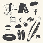 Beach icons set on texture background. Vector — Stock Vector