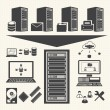 Datmanagement icons set. System Infrastructure Vector — Vettoriale Stock #32628217