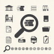 Documents Icons and Library icon. Vector — Vector de stock #32628303