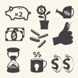 Finance and money icon set. — Stock Vector