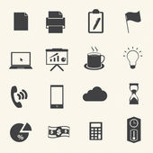 Business & office icons on texture background — Vector de stock