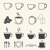 Coffee cup and Tea cup icon set on texture background. — Stock Vector