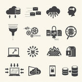 Data management and analytic icons set. Vector — Stock Vector
