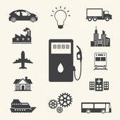Fuel gasoline and energy icons set. — Stock Vector