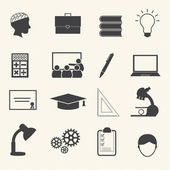 Education icons set on texture background — Vector de stock