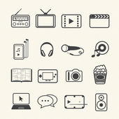 Entertainment icons set on texture background. Vector — Stock Vector