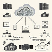 Cloud computing and Data management icons set. Vector — Stock Vector