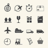 Logistic and shipping icon set on texture background — Stock Vector