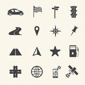 Navigation icons set on texture background. Vector — Stok Vektör