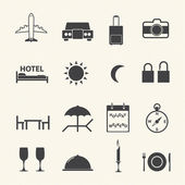 Travel icons set on texture background — Stock Vector