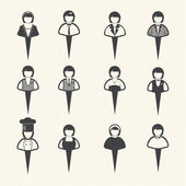 Vector people icons, Women icons set on texture background — Stock Vector
