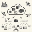 Stock Vector: Cloud computing and Datmanagement icons set. Vector