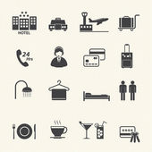 Hotel Services Icons set on texture background. Vector — ストックベクタ