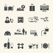 Hotel Services Icons set on texture background. Vector — Stock Vector