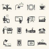 Man Daily Routine Icons — Stok Vektör