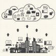 Cloud computing and Data management Concept — Imagen vectorial