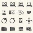 Stock Vector: Programmer software development and Database management icons