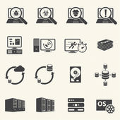 Programmer software development and Database management icons — Stock Vector