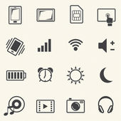 Icons set for mobile phone on texture background. Vector — Stock Vector