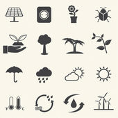 Eco energy icons set with texture background. Vector — Vecteur