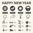 Happy new year with weather icons for Calendar, Vector illustration — Stock Vector #37776211