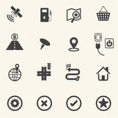 Map and Navigation icons with texture background. Vector icon set. — Cтоковый вектор