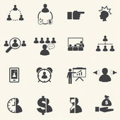 Time management relate The Leadership concept. Business icons set. Vector — Stockvektor