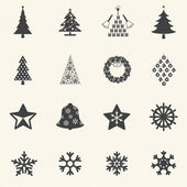 Christmas tree and snow flake icons with texture background. Vector — Stock Vector