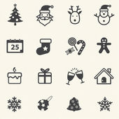 Christmas Icons with texture background. Vector icon set. — Stock Vector