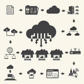 Computação em nuvem e conjunto de ícones de gerenciamento de dados. Vector — Vetor de Stock