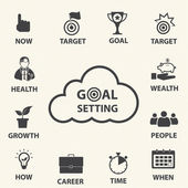 Smart goal setting. Vector icons set. — Stock Vector