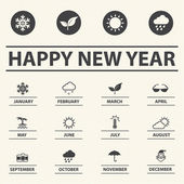 Happy new year with weather icons for Calendar, Vector illustration — Stock Vector
