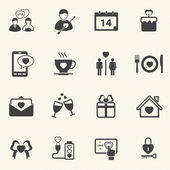Valentine's Day and First Love Icons. Vector icon set. — Stock Vector